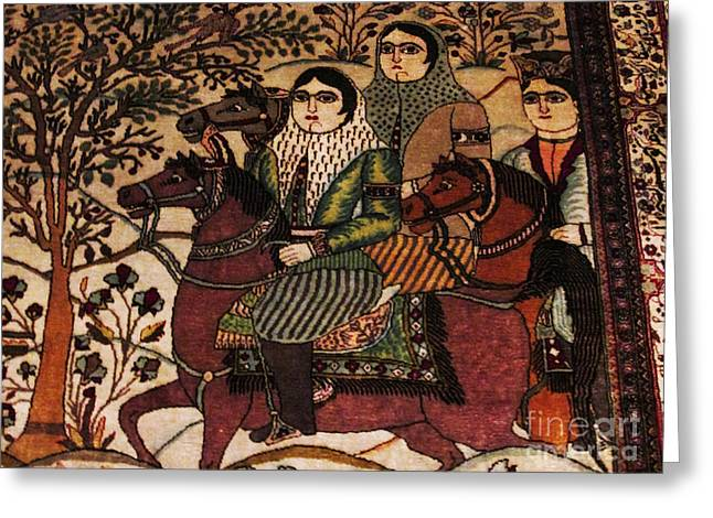 For Sale Tapestries - Textiles Greeting Cards - Qajar woman on horse Photos of Persian Antique Rugs Kilims Carpets  Greeting Card by Persian Art
