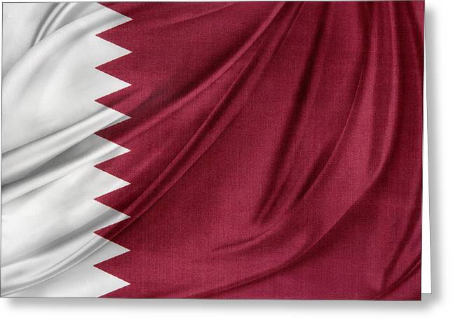 White Cloth Greeting Cards - Qatar flag Greeting Card by Les Cunliffe