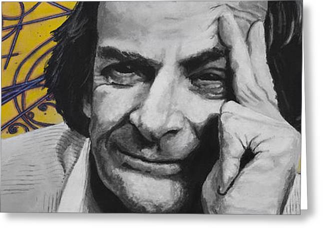 Cosmos Paintings Greeting Cards - QED- Richard Phillips Feynman Greeting Card by Simon Kregar