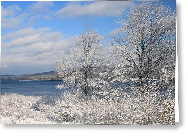 Quabbin Reservoir After Snowstorm Greeting Card by John Burk