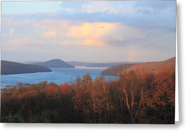 Quabbin Reservoir Enfield Lookout Late Foliage Rainbow Greeting Card by John Burk