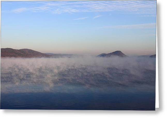 Quabbin Reservoir Morning Fog Greeting Card by John Burk