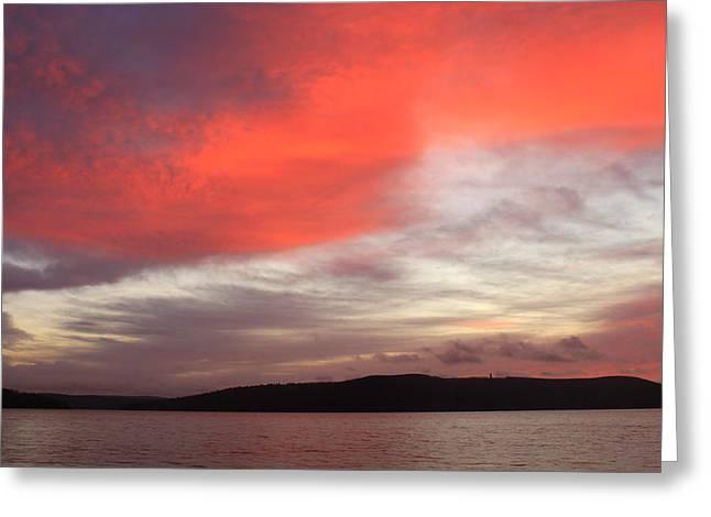 Quabbin Reservoir Sunrise Over Quabbin Hill Greeting Card by John Burk