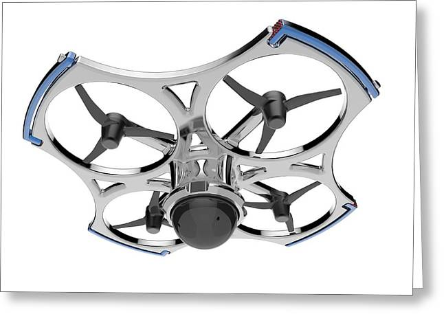 Quadcopter Air Drone With Camera Greeting Card by Alfred Pasieka