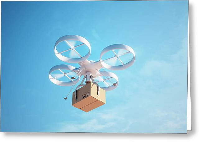 Quadcopter Drone Greeting Card by Andrzej Wojcicki