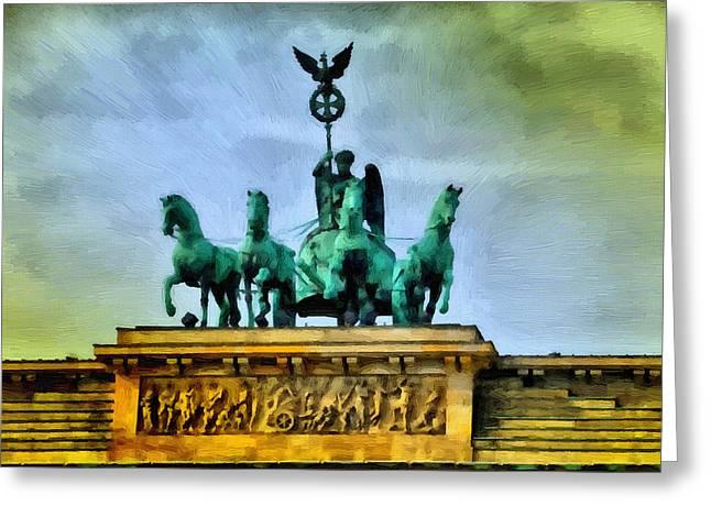 Tor Paintings Greeting Cards - Quadriga on Brandenburg Gate Greeting Card by Ralph van Och