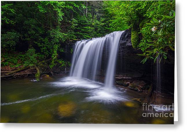 The Plateaus Greeting Cards - Quadrule falls summer Greeting Card by Anthony Heflin