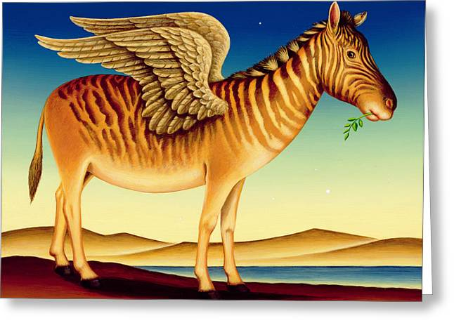 Olive Branch Greeting Cards - Quagga, 2000 Oil & Tempera On Panel Greeting Card by Frances Broomfield