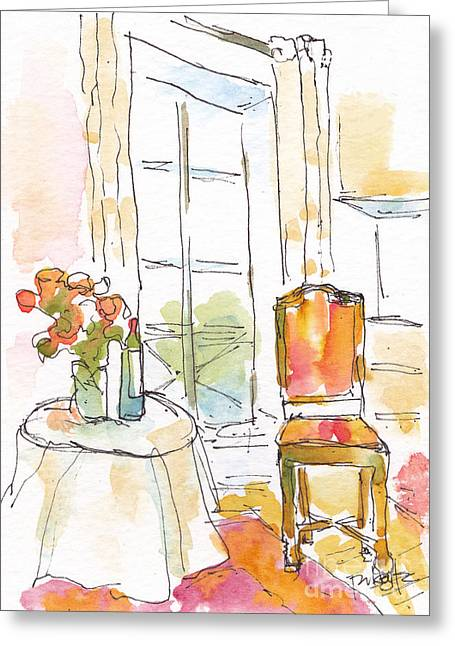 Table Wine Greeting Cards - Quai Aux Fleurs - Paris Greeting Card by Pat Katz