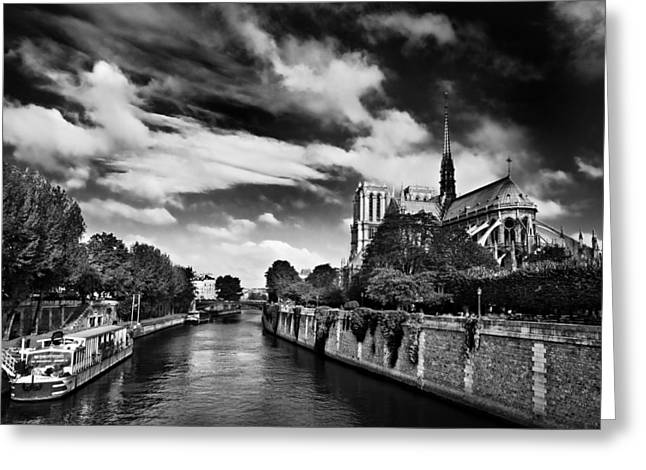 Montebello Greeting Cards - Quai de Montebello and Notre Dame Cathedral / Paris Greeting Card by Barry O Carroll