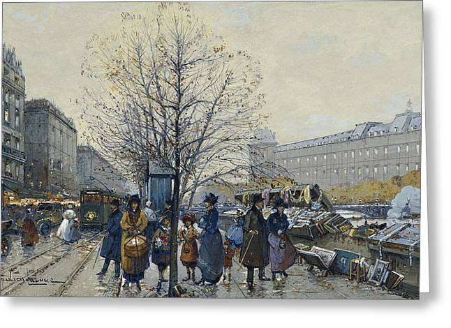 Bare Trees Greeting Cards - Quai Malaquais Paris Greeting Card by Eugene Galien-Laloue