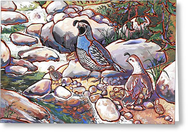 Quail Family Greeting Card by Nadi Spencer