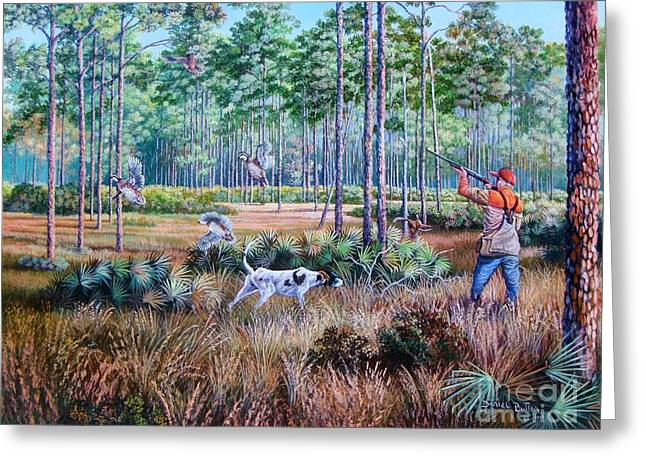 Best Sellers -  - Hunting Bird Greeting Cards - Quail Hunting...A Southern Tradition. Greeting Card by Daniel Butler