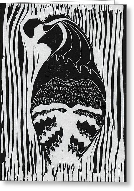 Linoleum Cut Greeting Cards - Quail Moma Greeting Card by Martin Zgodinski