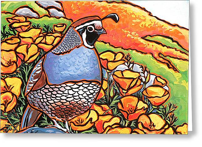 Best Sellers -  - Nadi Spencer Greeting Cards - Quail Poppies Greeting Card by Nadi Spencer