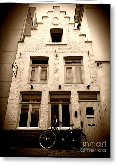European Bicycle Shop Greeting Cards - Quaint Architecture Greeting Card by Nick Wardekker