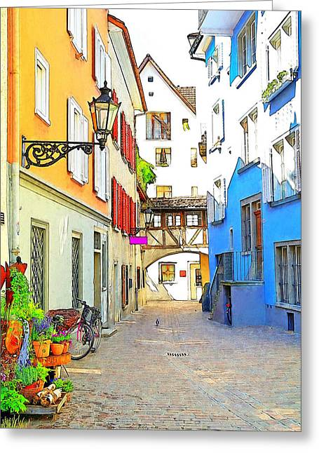 Town Mixed Media Greeting Cards - Quaint Austrian Town Greeting Card by Maria Dryfhout