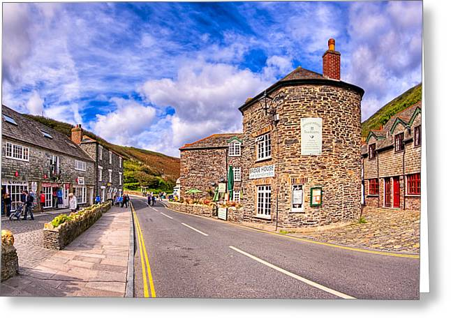 Quaint Cornwall In The Little Village of Boscastle Greeting Card by Mark Tisdale
