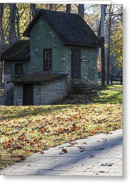 Wooden Stairs Greeting Cards - Quaint Powerhouse at Meramec Spring Park Greeting Card by David M Porter