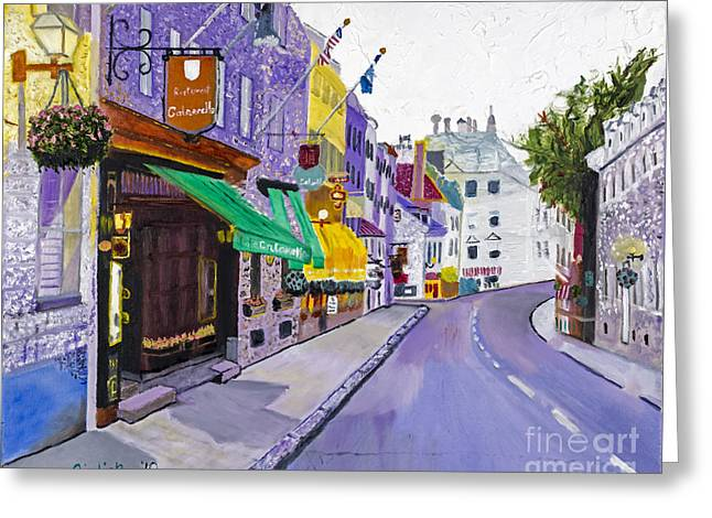 Quebec Streets Greeting Cards - Quaint Quebec City by Stan Bialick Greeting Card by Sheldon Kralstein