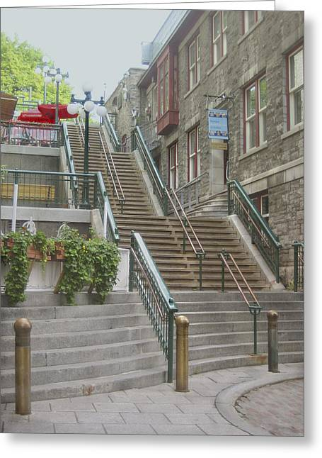 Canada Photograph Greeting Cards - quaint  street scene  photograph THE BREAKNECK STAIRS of QUEBEC CITY   Greeting Card by Ann Powell