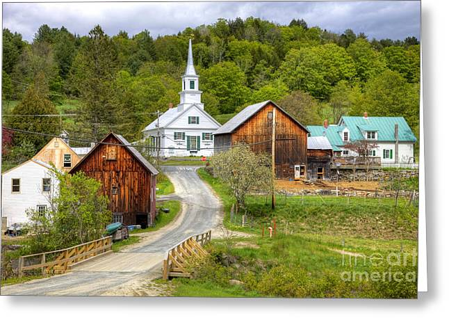New England Village Greeting Cards - Quaint Vermont Village Greeting Card by Denis Tangney Jr