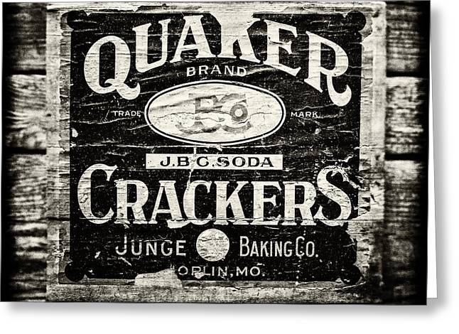 Quaker Greeting Cards - Quaker Crackers Rustic Sign for Kitchen in Black and White Greeting Card by Lisa Russo