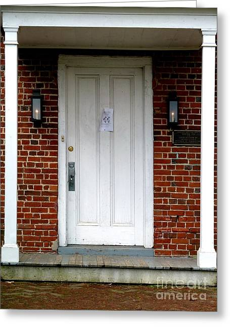 Quaker Greeting Cards - Quaker Meeting House Doorway Greeting Card by Sally Simon