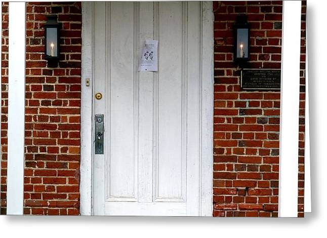 Quaker Meeting House Doorway Greeting Card by Sally Simon