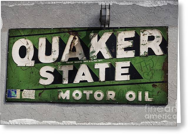 Quaker Greeting Cards - Quaker State Motor Oil Greeting Card by Janice Rae Pariza