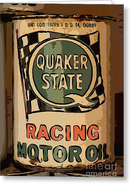 Quaker Greeting Cards - Quaker State Oil Can Greeting Card by Carrie Cranwill