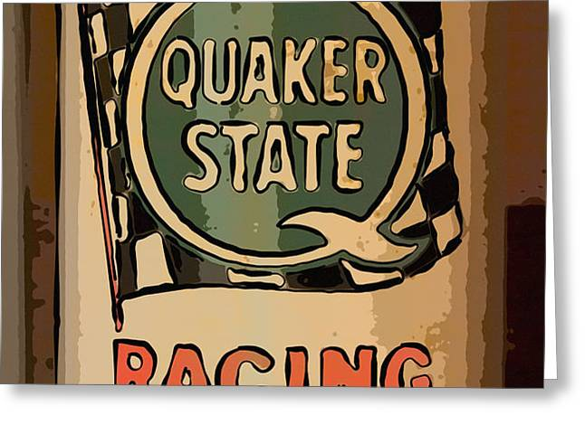 Quaker State Oil Can Greeting Card by Carrie Cranwill