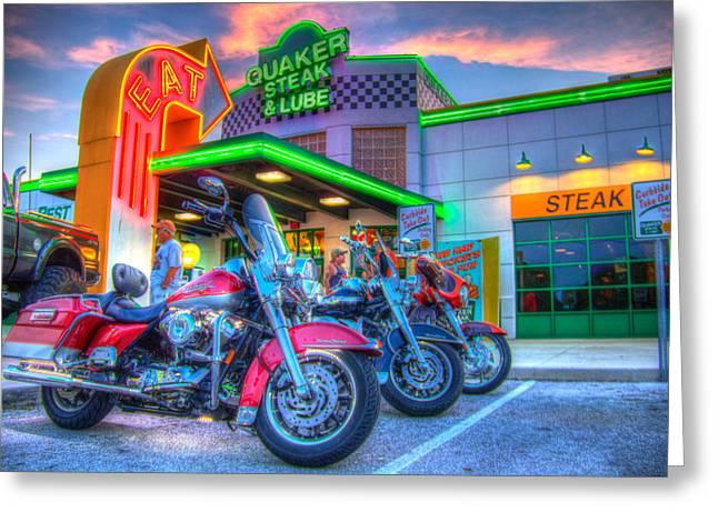 Lube Greeting Cards - Quaker Steak and Lube Bike Night Greeting Card by Zane Kuhle