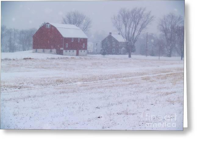Bucks County Farm Greeting Cards - Quakertown Farm on Snowy Day Greeting Card by Anna Lisa Yoder
