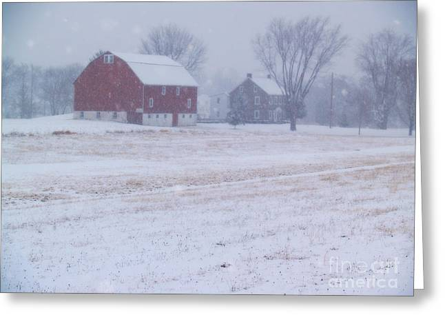 Quakertown Farm on Snowy Day Greeting Card by Anna Lisa Yoder