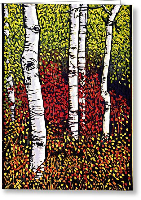 Linocut Paintings Greeting Cards - Quakies - Linocut Print Greeting Card by Manny Mellor
