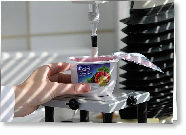Yoghurt Greeting Cards - Quality control in yoghurt factory Greeting Card by Science Photo Library