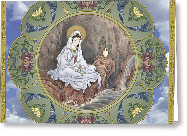 Quan Greeting Cards - Quan Yin Celestial Blessings Greeting Card by Nadean OBrien