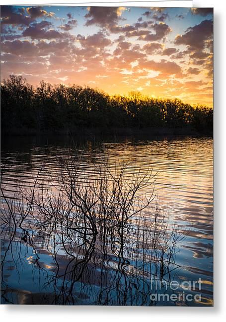 Quanah Parker Lake Sunrise Greeting Card by Inge Johnsson