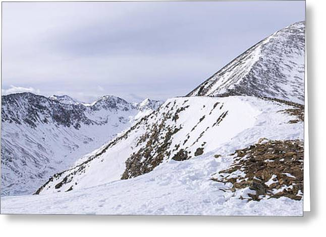Snow Drifts Greeting Cards - Quandary Peak Panorama Greeting Card by Aaron Spong
