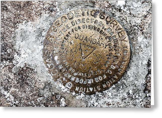 Geological Greeting Cards - Quandary Survey Marker Greeting Card by Aaron Spong