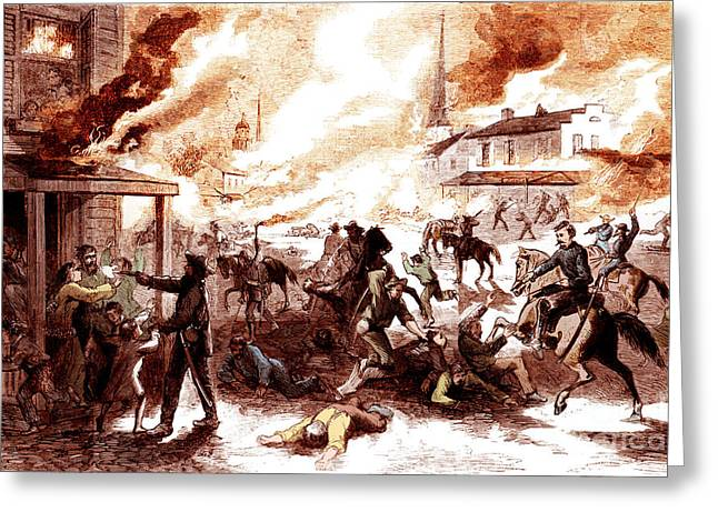 Weekly Greeting Cards - Quantrills Raid, Lawrence Massacre, 1863 Greeting Card by Photo Researchers