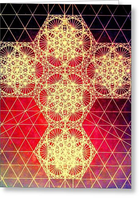 Heal Greeting Cards - Quantum Cross Hand Drawn Greeting Card by Jason Padgett