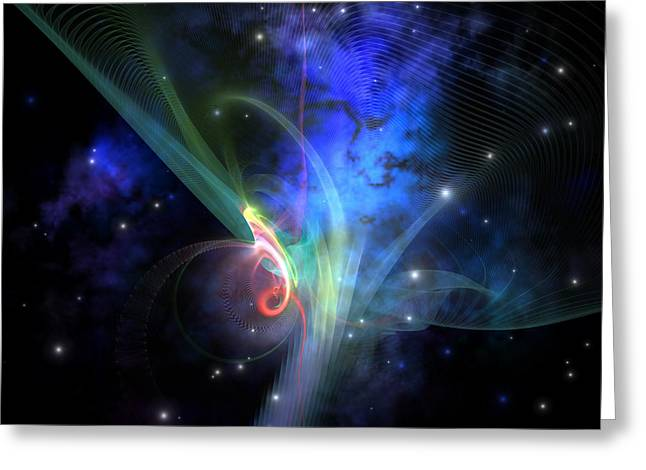 Interstellar Space Digital Art Greeting Cards - Quantum Filament Greeting Card by Corey Ford