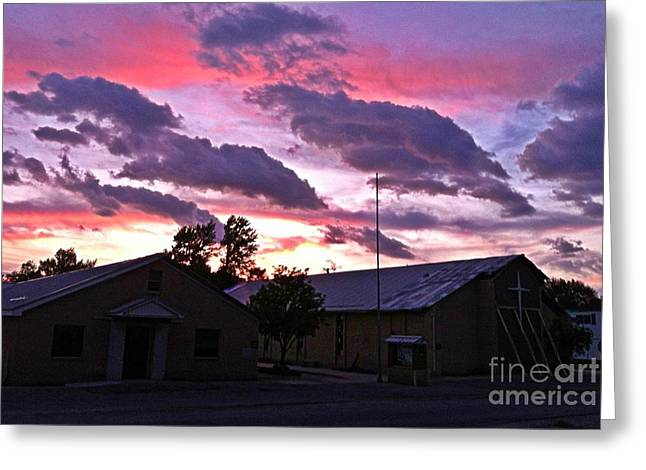 Sunset After A Storm Greeting Cards - Quapaw Ok tornado survivor iPhone shot Greeting Card by Larry Lamb