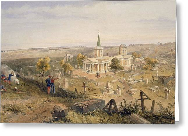 Tombstone Drawings Greeting Cards - Quarantine Cemetery And Church, Plate Greeting Card by William