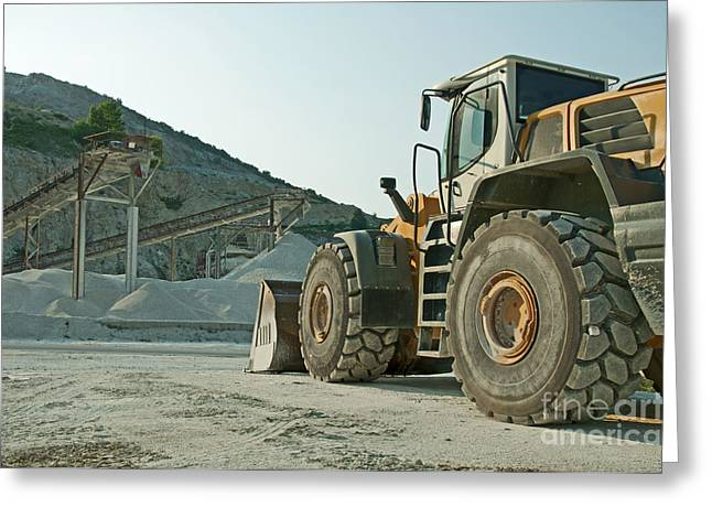 Quarry and Bulldozer Greeting Card by Deyan Georgiev
