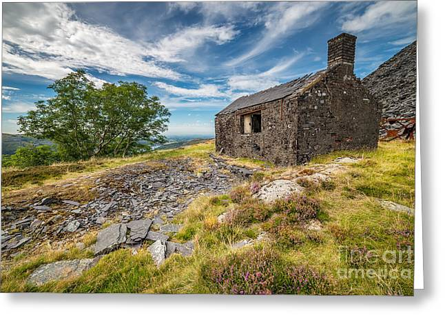 Snowdon Greeting Cards - Quarry Building Greeting Card by Adrian Evans