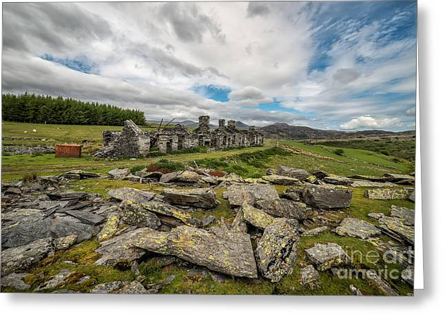 Slates Greeting Cards - Quarry Cottages Greeting Card by Adrian Evans