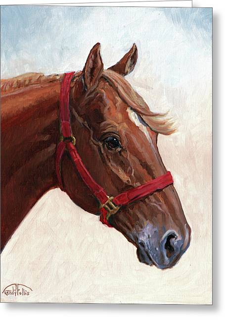 Quarter Horses Paintings Greeting Cards - Quarter Horse Greeting Card by Randy Follis